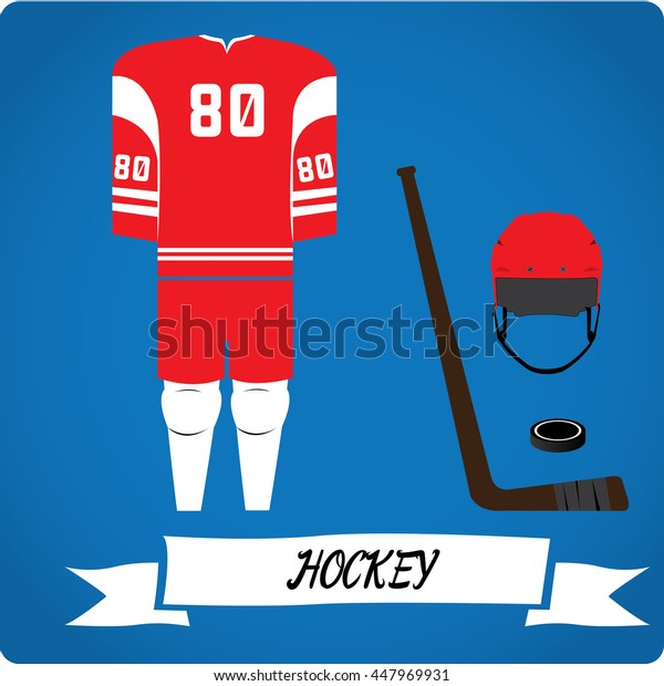 Hockey objects, Sport uniform, Vector illustration