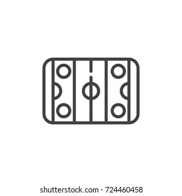 Hockey pitch line icon, outline vector sign, linear style pictogram isolated on white. Symbol, logo illustration. Editable stroke
