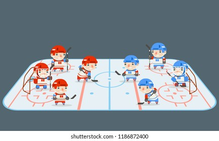 Hockey play field teams players cartoon design flat vector illustration