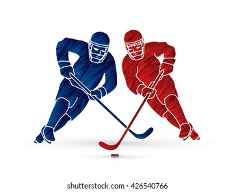 Hockey player action designed using red and blue grunge brush graphic vector