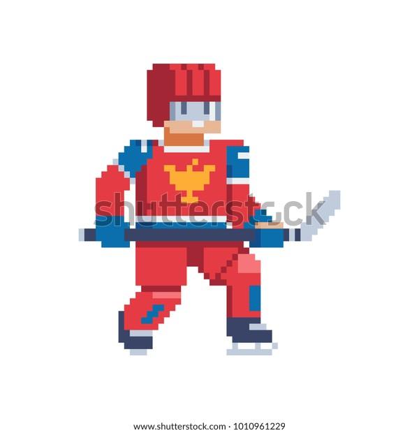 Image Vectorielle De Stock De Hockey Player Character Pixel