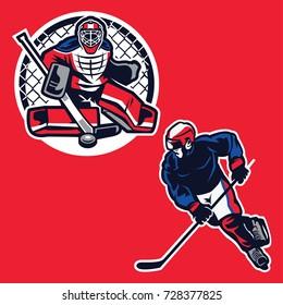 Hockey Player Illustration Vector : Layered Vector Illustration - Easy to Edit