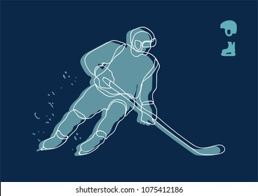 hockey player line drawing. man ready for a shot. hand draw, vector illustration