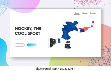 Hockey Player in Motion Website Landing Page. Young Male Character Skating in Team Uniform Hitting Puck with Stick, Sportsman Playing Game, Sport Life Web Page Banner. Cartoon Flat Vector Illustration