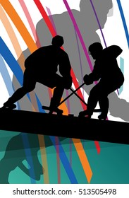 Hockey player sport silhouette vector abstract background line concept