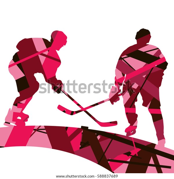 Hockey Player Sport Silhouettes Mosaic Abstract Stock