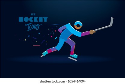 Hockey player with a stick in motion. Vector color line icons