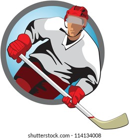 Hockey player with a stick in oval frame