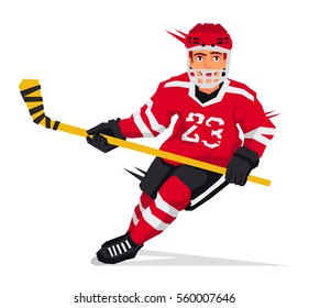 Hockey player with a stick in the red form. Vector illustration on white background. Sports concept.