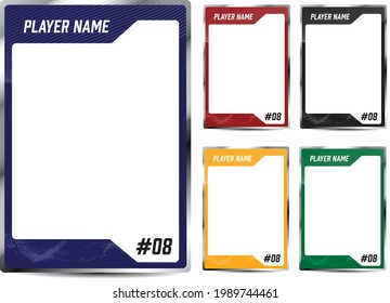 Hockey player trading card frame border template design flyer