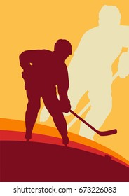 Hockey player vector abstract background winner concept poster