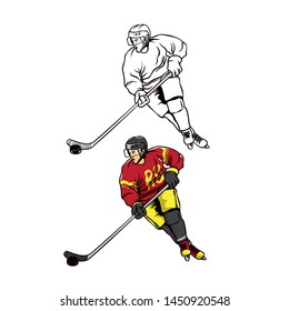 Hockey player vector illustration, colored and outlined illustration.