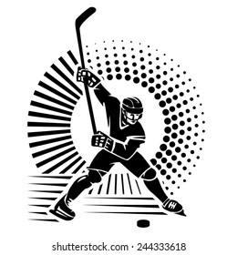 Hockey player. Vector illustration in the engraving style