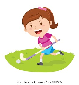 Hockey player. Vector illustration of a little girl playing hockey in a field.