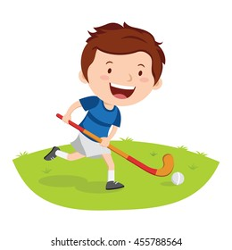 Hockey player. Vector illustration of a little boy playing hockey in a field.