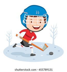 Hockey player. Vector illustration of a little boy playing hockey.