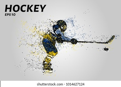 Hockey player in yellow and blue uniform. Hockey from the particles