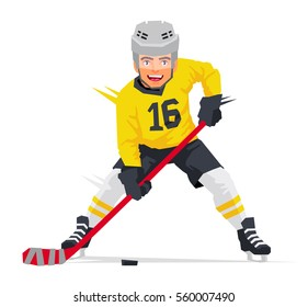Hockey player with  in yellow uniform. Vector illustration on white background. Sports concept.