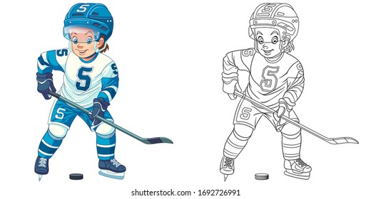 Hockey player, young boy playing winter game. Coloring page and colorful clipart character. Cartoon design for t shirt print, icon, logo, label, patch or sticker. Vector illustration.