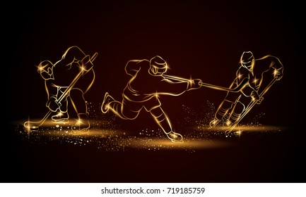 Hockey players set. Golden linear hockey player illustration for sport banner, background and flyer.