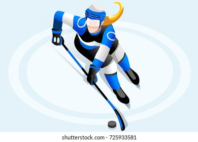 Hockey poster. Ice hockey player athlete winter sports woman vector 3D hockey field isometric icon.