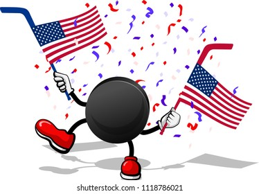 A hockey puck with arms and legs waving an American Flags attached to hockey sticks with confetti falling.