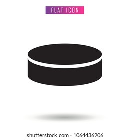 Hockey Puck Black . Black Vector Icon in flat style, on White background, isolated, illustration for application and web templates