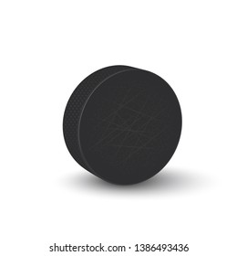 Hockey puck isolated on white background. Vector illustration