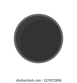 Hockey puck top view vector icon. Play activity sports symbol ice league. Championship element flat rubber game isolated