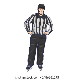 Hockey referee Isolated on a white background. Vector graphics.