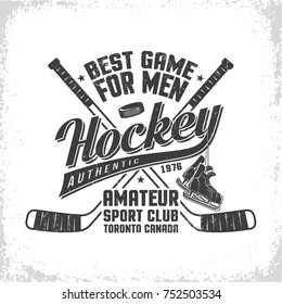 Hockey retro emblem for team or sport club with grunge effect.  Worn texture on  separate layer and can be easily disabled.
