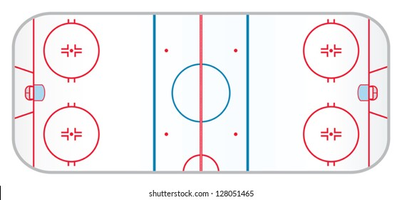 A hockey rink with realistic markings like the ones used in the professional version of the game.