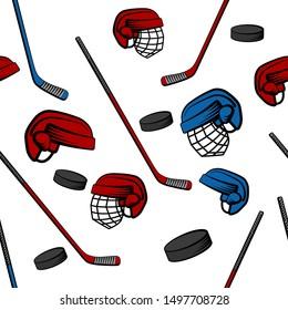 Hockey seamless pattern with sticks, pucks and helmets, vector illustration