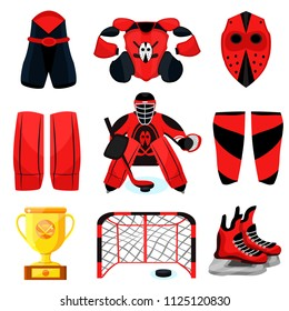 Hockey set. Modern flat cartoons style vector illustration icons. Isolated on ice, blue. Hockey gear. Hockey equipment. Sport accessories: trophy, mask, goalkeeper, knee pads, gate, puck, protection