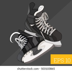 hockey skates eps10 vector illustration. ice hockey boots pair
