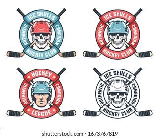 Hockey skull retro emblem with crossed sticks and round ribbon. Vintage sport emblem with hockey player face. Vector illustration.