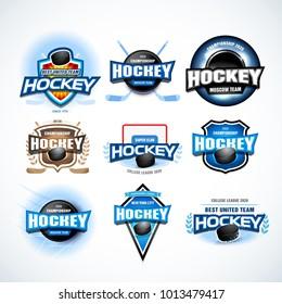 Hockey sport team logotype templates set. Hockey emblem, logotype template, t-shirt apparel design. Sport badge for tournament or championship. Isolated vector illustrations