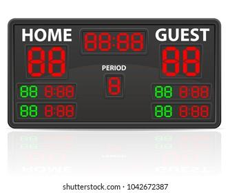 hockey sports digital scoreboard vector illustration isolated on white background