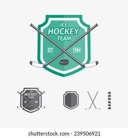 Hockey sports emblems and symbols for team logo. Hockey, game,  sport