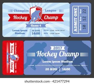 Hockey sports ticket card vector modern design. Tournament hockey ticket abd match championship hockey sport game illustration