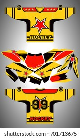 Hockey Sportswear Illustration. Hockey Game Accessories Digital Vector Illustration. vector illustration of a yellow hockey Jersey with black accents and number 99