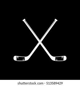 Hockey Stick Cross Flat Icon On Black Background