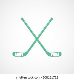 Hockey Stick Cross Green Flat Icon On White Background