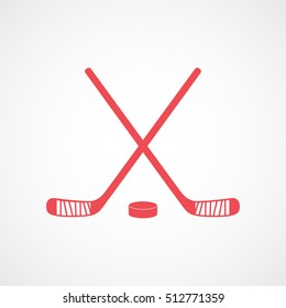 Hockey Stick Cross And Puck Red Flat Icon On White Background