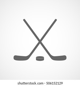 Hockey Stick Flat Icon On White Background