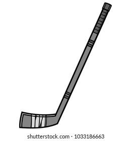 Hockey Stick Illustration - A vector cartoon illustration of a Hockey Stick icon.