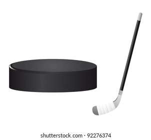 hockey stick and hockey puck isolated vector illustration