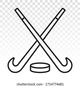 Hockey stick with puck vector line art icon for apps and websites on a transparent background