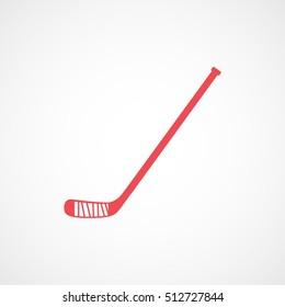 Hockey Stick Red Flat Icon On White Background