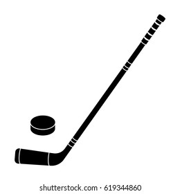 Hockey stick and washer. Canada single icon in black style vector symbol stock illustration web.
